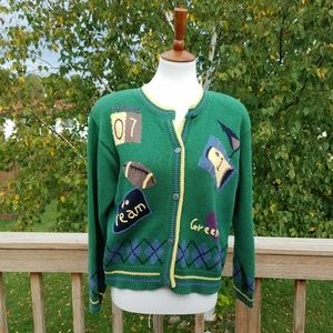 Vintage 90s Handmade Green Bay Packers Cardigan